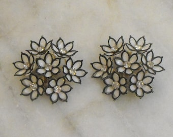 Vintage Clip Earrings Large Flowers