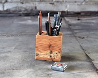 Wood Gift Man, Wood Desk Caddy Small, Desk Organizer, Desk Accessories, Pencil Holder, Tool Caddy, Office Decor, Reclaimed Wood, Peg and Awl