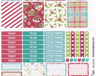 Christmas Planner Stickers | Christmas Critters | Fits Erin Condren Life Planner | Fits Happy Planner | Raccoon Fox Stickers