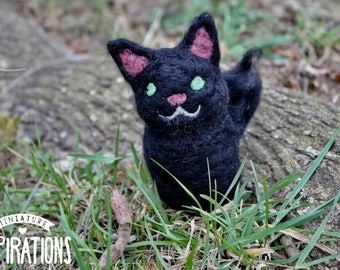 Needle Felted Black Cat // Felted Animals // Woodland Creature // Gifts for Her // Home Decor // Fiber Art // Handmade Pet Portrait