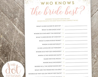 Who Knows the Bride Best? - Questionnaire for guests - printable bridal shower game - gold, pink, glitter - instant digital download - GOLD