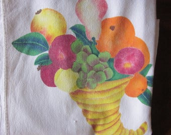 Old White Luncheon Cloth/  Painted Fruit Cornucopia