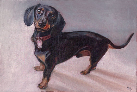 "Miniature Custom Portrait - Oil painting - Dachshund - 3""x4"""