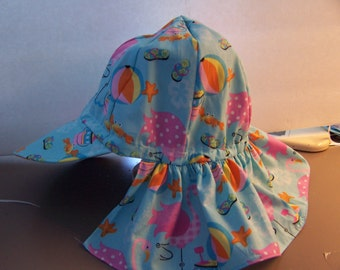 Childrens sun hat with protective neck guard