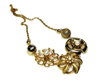 Repurposed Vintage, Gold Flower Statement Necklace, Pearls, One Of A Kind, Upcycled Jewelry