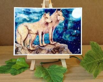 Night Wolves - Mini Fine Art Print