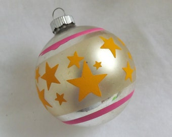 Vintage Shiny Brite ornament silver and pink ornament glass ball Christmas ornament stencil ornament yellow stars ornament