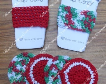 Hot Drink Set- 2 coffee cozy, 4 coasters crochet