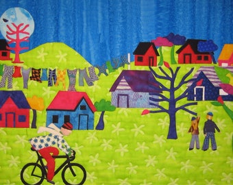 Cycling Village, Free Shipping, Cameo by Sid, Happy Times, Folk Art, Kelly Burgess, Nova Scotia, Community Spirit, Godspeed, Road Bikes