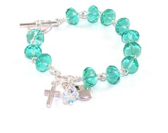 12 Step Recovery Sobriety Bracelet, Women in Recovery Gift, Sea Green Crystal Bracelet