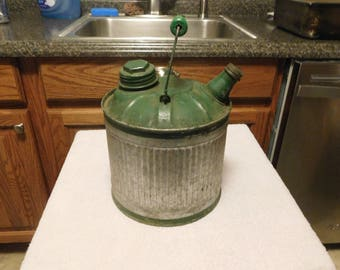 Vintage MidCentury Gas\Kerosene Can Green and Silver Wooden Handle Smaller Size