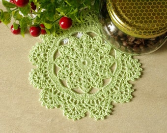 Crochet doily Green crochet doilies 6 inches Small lace doilies Crocheted cotton doilie Home decor 424