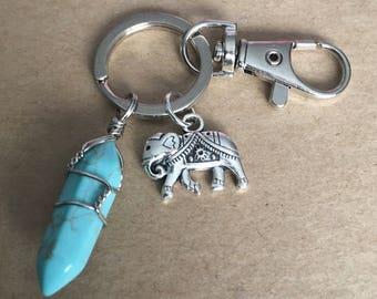 Elephant Turquoise Crystal Gemstone Keychain