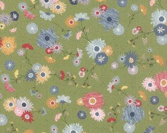 Mon Ami Jardin green cotton fabric by Basic Grey for Moda fabric 30411 16