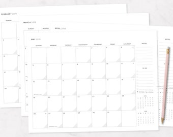 2018 - 2019 Monthly Calendar Printable | IVF, TTC, Monthly Planner, Cycle Tracker
