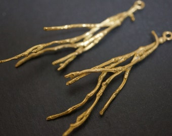 Vintage Solid Brass High Quality Abstract Freeform Tree Twigs Charm Pendant - 1 piece (No Coupon)