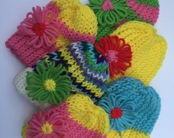 Summer Baby Hats, knitted, Newborn lightweight baby hat, bright colors, with flower.