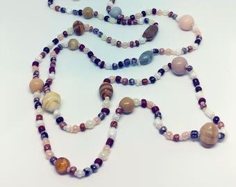 Handmade  Sand 01 Glass  Beaded long Necklace