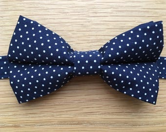 Men's Bow Tie, Bow Tie for Men, Navy Blue and White Polka Dot Bow Tie, Blue with White Spots