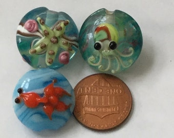 4 Beads - 20mm Handmade Glass Lampwork Lentil Beads Set by AjLampworkBeads