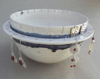 Earring Bowl, Large Jewelry Bowl Jewelry organizer, handmade ceramic, pottery bowl, Stud Long Earrings holder Multi-Function