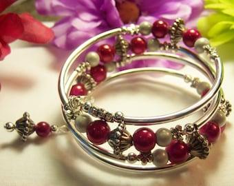 Women's Wire Wrap  Memory Silver & Hot Pink Bracelet