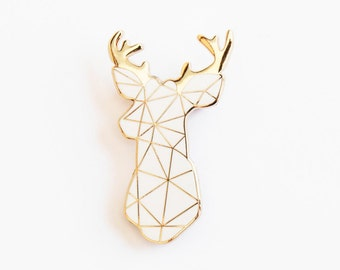 Stag Brooch Pin Badge White Boutonniere Geometric