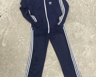 80's Adidas track suit women's LG Navy