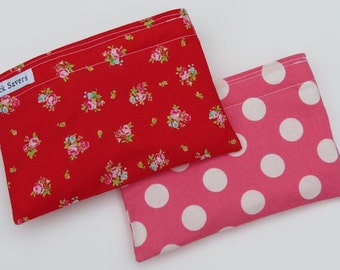 Reusable Snack Bag Set of Two Eco Friendly Flower Sugar Pink Polka Dot