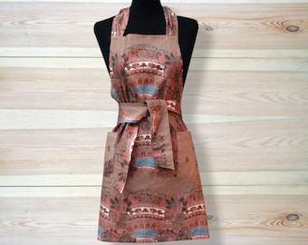 Kitchen Apron, full size apron, Ukrainian/Russian scarf floral ornaments, floral apron, rose apron, beige apron