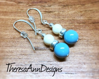 Turquoise Earrings, Glass Earrings, Pearl Earrings, Beaded Earrings, Drop Earrings, Modern Earrings, Pearl Jewelry, Christmas Gift