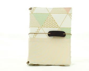 Geo Cream Fabric Cover Fauxdori, Travelers Notebook, SIZE B6 SLIM