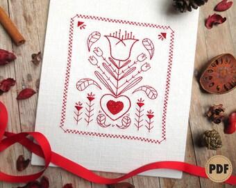 Redwork Embroidery, Tulip Pattern, Dutch Folk Art, Stitch Sampler, Valentine's Day Pattern, Spring Embroidery Pattern, Primitive Decor, Red