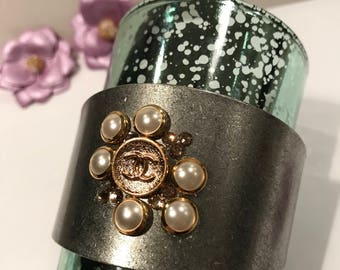 Designer Button Cuff Bracelet with Swarovski Crystals * Repurposed Button Cuff Bracelet *