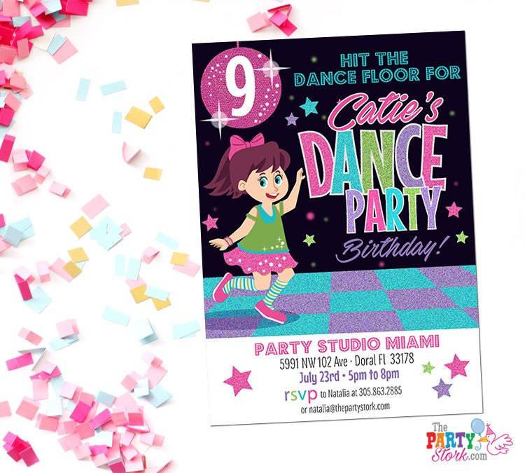 Dance Party Invitation Printable Birthday Invitations for