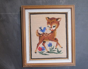 Vintage Framed Needlepoint Embroidery Deer Bird Flowers