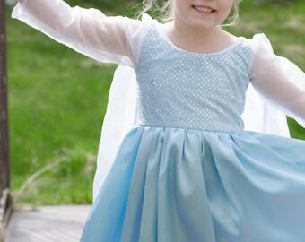 Beautiful Elsa Frozen Inspired Snow Queen Princess Costume Gown blue ballgown, pretend play, dress-up, ice princess halloween christmas new