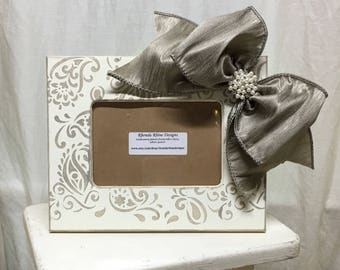 Paisley, Pewter and Pearls 4x6 Hand Painted Picture Frame