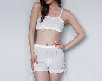 Ivory Chiffon Top and Bloomers Bridal Lingerie Wedding Lingerie Bridal Sleepwear Lingerie set