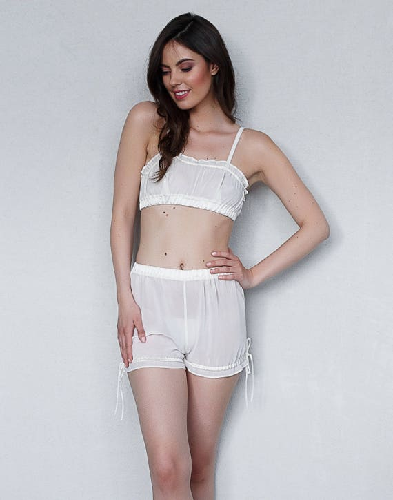 Retro Lingerie, Vintage Lingerie, New 1950s,1960s, 1970s Ivory Chiffon Top and Bloomers  $65.00 AT vintagedancer.com