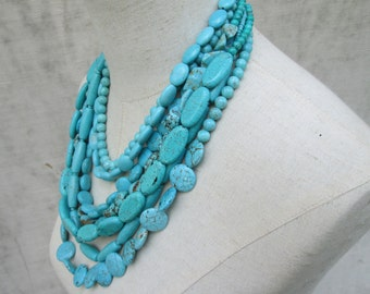 Chunky Turquoise Necklace , Multi Strand Turquoise necklace