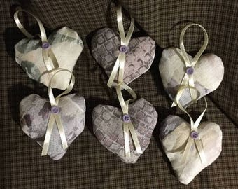 6 unique ornaments, Rustic fabric rag hearts, farmhouse door hanger, heart bowl filler, shabby chic hearts, country hearts, GACA125