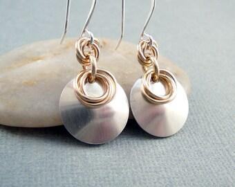 Sterling Silver Drop Earrings, Industrial Jewelry, Cool Earrings, Circle Earrings, 925 Silver Jewelry, Industrial Earrings, Trendy Jewelry