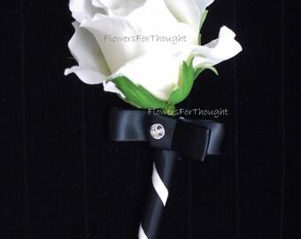 White Rose Boutonniere with Black Ribbon, Groomsmen Lapel Pin