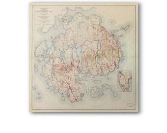 1942 Acadia National Park Map | Mount Desert Island | Reproduction Print |