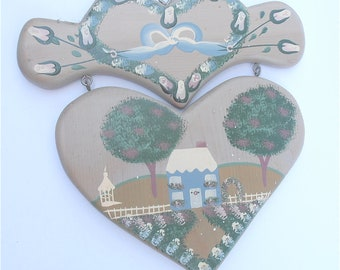 Vintage Painted Floral Heart Wall Hang Décor Carved Gray Blue Wood Home Paint Artwork Plaque Shabby House Cottage Chic Green Tree Flower Bud
