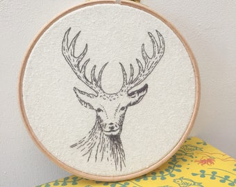 Hand embroidered, Stag picture in embroidery hoop, Deer drawing, Wildlife art, animal lover gift, hand stitched stag FREE UK SHIPPING