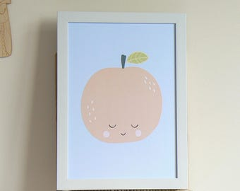 Orange print. Nursery print. Wall art