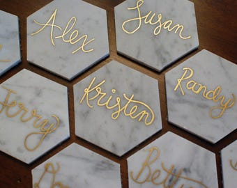 Place cards | Marble place cards | Hexagon place cards | Wedding | Wedding decorations | Wedding place cards | Card table | Seating chart