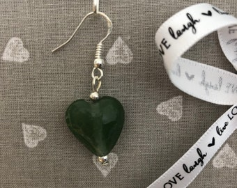 Glass heart drop earrings
